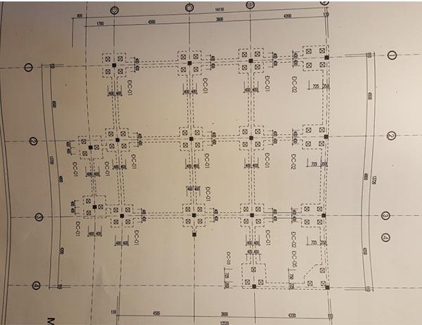 Bản vẽ định vị tim cọ cho nhà 7 tầng xây cho thuê chung cư mini