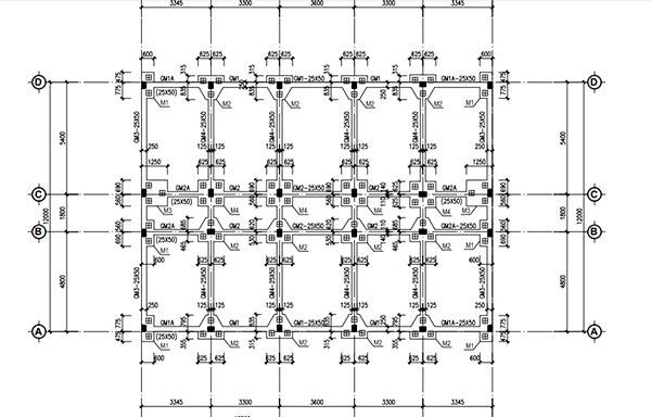 Bản vẽ định vị tim cos 250x250 công trình nhà văn hóa
